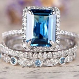 🎀3pc Blue Sparkling Diamond Ring
